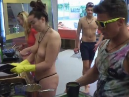 Big Brother Harry Amelia Topless Washing Up